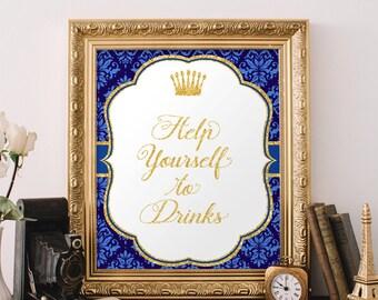 Blue & Gold Help yourself to drinks, Shower drinks sign,  Drink table sign, Printable Sign, Prince Baby shower decor, Drink sign, Pr-B