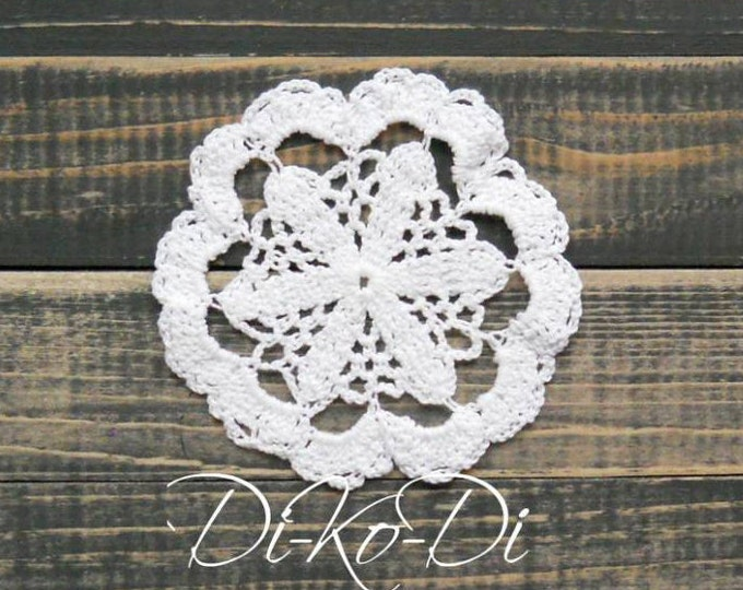 Crochet lace doily, white doily, crocheted decoration, crochet table decor, decorative crochet, white cotton doily, crochet ornaments, lacey