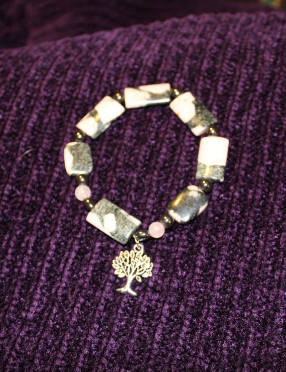 SALE ~ Pink and Gray Rhodonite, Hematite and Rose Quartz Beaded Bracelet with Tree Charm
