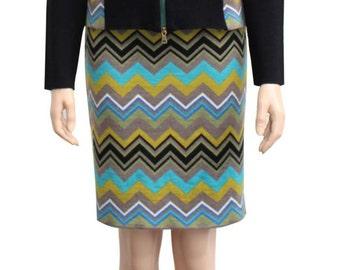 Skirt bo ssoni  merino wool  zick zack pattern  rmud  green  colorfull  pin skirt