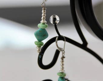 Turquoise, Howlite and Sterling SilverOne of a Kind Earrings