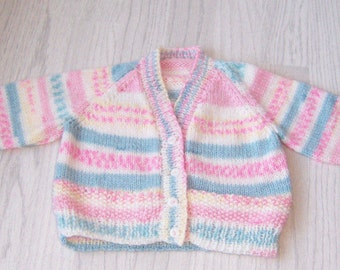 """Handmade V necked Baby Cardigan 6-12 months, 20"""" chest, Hand knitted Multi coloured Baby Cardigan"""