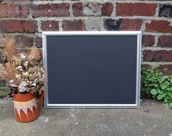 Large Vintage Silver Metallic Frame with Chalkboard for Wedding - 22 x 17 inches - Blackboard, Menu, Sign, Home Decor, Party, Prop