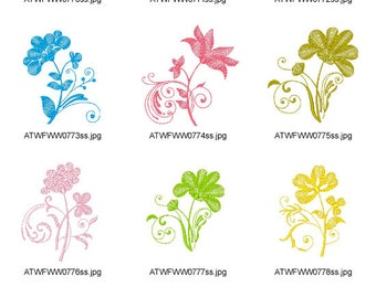 Waves-Style-Floral-1. ( 10 Machine Embroidery Designs from ATW )