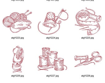 Vintage-Redwork-Sewing. ( 11 Machine Embroidery Designs from ATW )