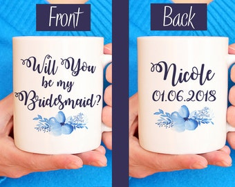 "Bridesmaid Proposal Bridesmaid Mug - Will You be my Bridesmaid - Watercolor Floral Mug - Bridesmaid Gift ""Bella Floral"" Watercolor Mug Blue"