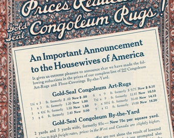 Vintage Rug Advertisement, 1922 color ad with prices