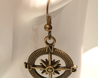 Compass Earrings Antique Gold Pendant