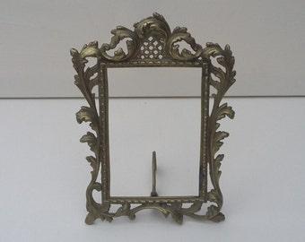 Vintage Gilded Metal Photograph Frame Rococo Design Photo Frame