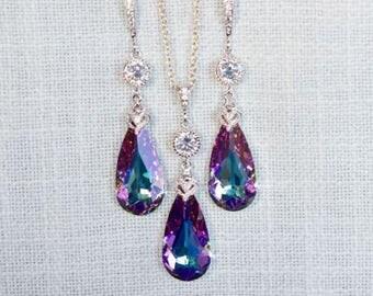 Handmade Swarovski Lavender Vitrail Light Teardrop Crystal Dangle Necklace & Earrings Set, Bridal, Wedding (Sparkle-2701)