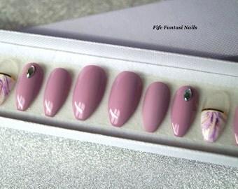 Purple Coffin Nails, Matte Stiletto Nails, Press on Nails, False Nails, Fake Nails, Kylie Jenner, Acrylic Nails, Swarovski Nails, Nail Art