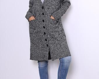 Mottled gray button-down long waistcoat