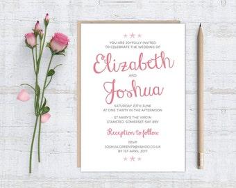 Printable (DIY) LITTLE STARFISH - White Background - Wedding Invitation Stationery Set
