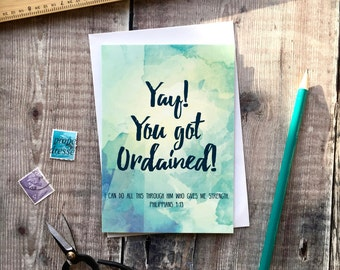 Yay! You Got Ordained! Izzy & Pop Card - Ordination Card - Christian Cards - Christian Gifts - Faith Prints - Watercolour Art