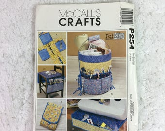McCall's P254 or 4274 Sewing Pattern Fat Quarters Sewing Accessories / sewing machine organizer / bucket organizer / thumb pincushion