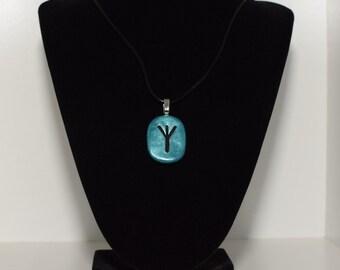 Rune Stone Algiz Amulet & Leather Necklace Talisman