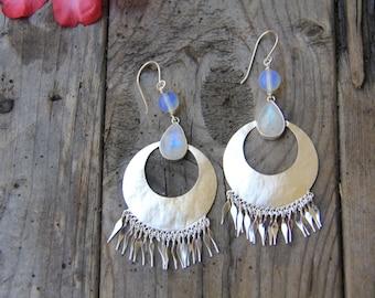 Zita Earrings: Moonstone Earrings, Sterling Silver Earrings, Boho Earrings, Gypsy Earrings, Dangle Earrings, Sunsara Jewellery