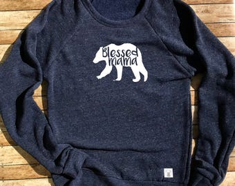 Tri-Blend Crew Neck Sweatshirt Unisex - Blessed Mama Bear - Mama Bear Sweatshirt