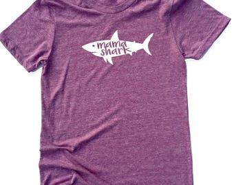 Unisex Tri-Blend T-Shirt Mama Shark - Funny Mom Shirt - Mama Shirt
