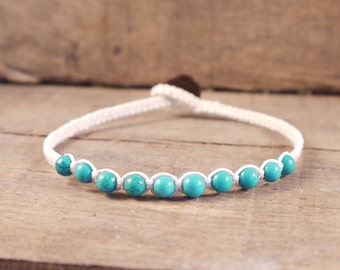 Turquoise Bracelet, Linen Bracelet, Braided bracelet, Surf Bracelet, turquoise jewelry, surf jewelry, natural bracelet, gemstone jewelry
