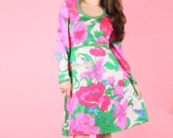 70s Vintage Pink Garden Dress