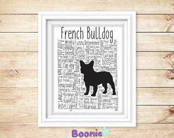 """French Bull Dog Print Art Work Typography On A4 Top Quality Card 10""""x8"""""""