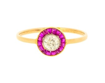 Striking Art Deco Ruby Gemstone and Diamond Target Antique Ring in 9ct Gold | Antique Ruby Engagement Ring  (3209096)