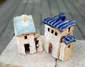 Tiny house, miniature house, small clay house, little house, tiny village, terrarium, housewarming gift, fairy garden, pottery and ceramics
