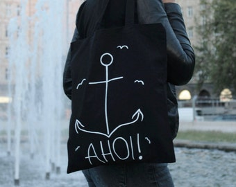 """Bye with ö-bag """"Ahoy!""""-carrying bag black with anchor-bag-cotton-hand painted-maritime, sea, travel, seagulls"""