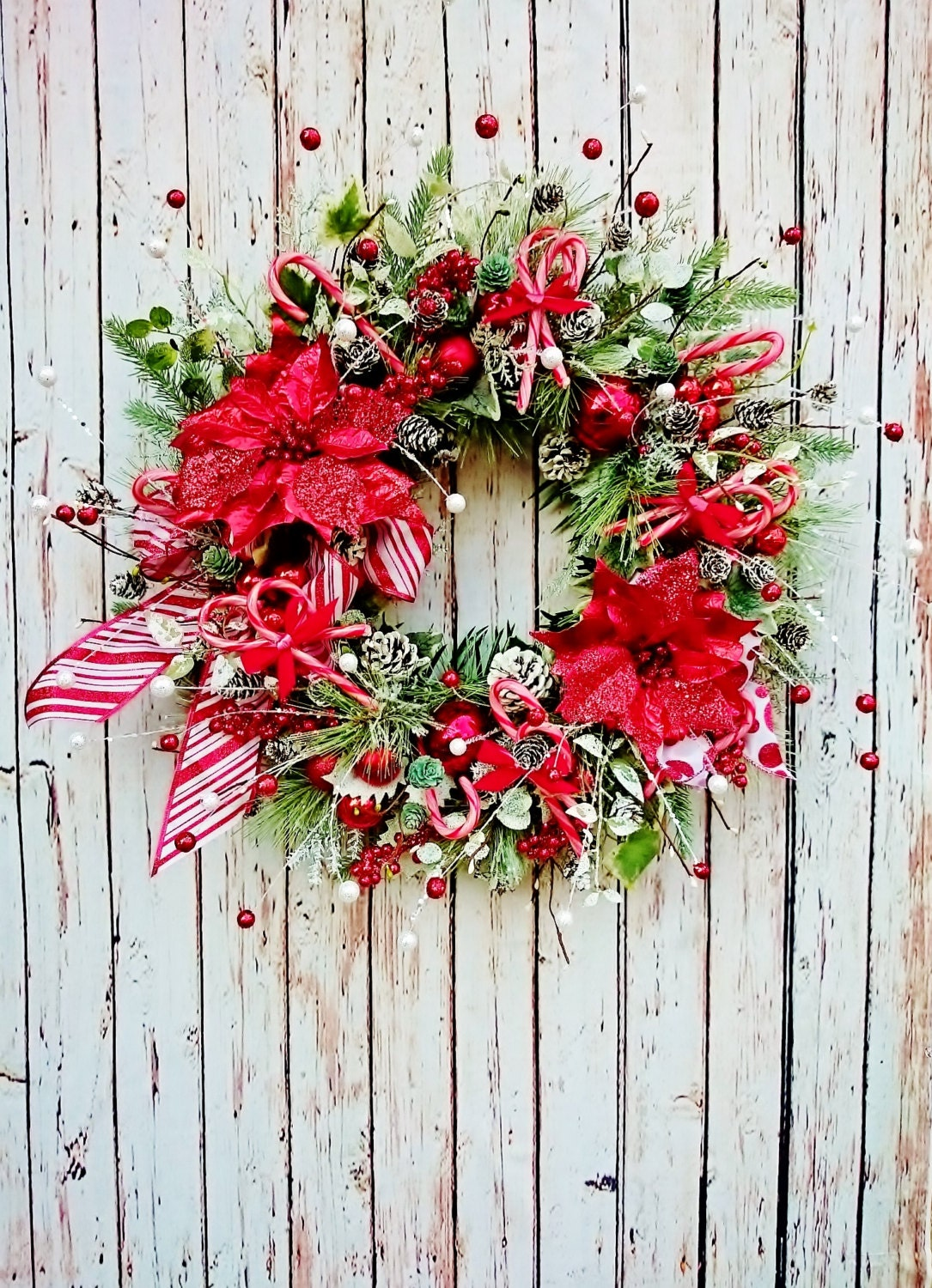 Peppermint christmas front door wreath holiday wreaths red for Front door xmas wreaths