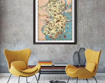 Vintage New Jersey Map from 1935, old New Jersey map Print, old USA map Print Art Poster,Office Decor, Home Decor Print