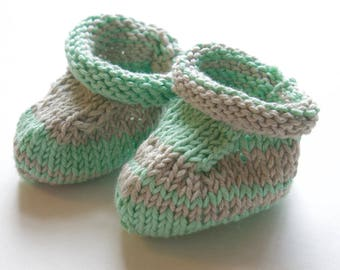 Knitted cotton baby booties - green and gray hand knit infant socks - cute stripy baby socks