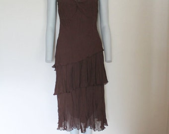 Vintage Dress Brown Chiffon Layers Dress V Neck Sleeveless Multi Layered Romantic Dress Ruffle Large Size