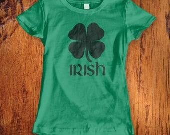 Women's Tshirt St. Patricks Day shirt Irish Shirt saint patricks day shirt four leaf clover shirt irish girl shirt  ladies topChristmas Gift