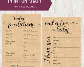 DIY PRINTABLE Baby Shower Game Set of 2   Instant Download Baby Shower Printable   Wishes for Baby   Predictions for Baby   OB14