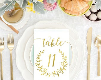 DIY PRINTABLE Gold 5x7 Wedding Table Numbers | Instant Download | Wedding Ceremony Reception Table Numbers | Gold Foil Calligraphy | WS1