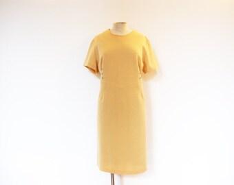 Vintage 60s Mustard Yellow Wool Shift Dress - XXL