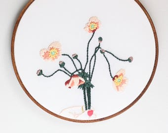 Hand Embroidery Hoop Art, Bundle of Anemone Flowers, Ready to Ship Modern Hoop Art