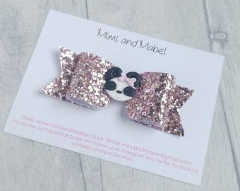 Panda hair bow, pink hair bows, panda gifts, girls hair clips, gifts for girls, glitter hair bows, animal hair clips, girls bows