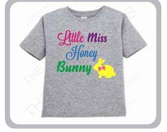 """Easter T-Shirt """"Little Miss Honey Bunny""""....Kid's Easter T-Shirt"""