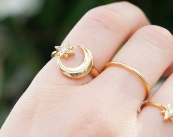 Moon ring - stacking ring - zodiac gold ring - star ring - gold ring - tiny gold ring - moon star ring - silver ring - zodiac - C18202