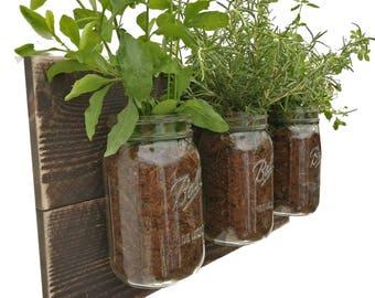 Reclaimed Wood Herb Planter   Dark Wood Hanging Planter Indoor Herb Garden  Vertical Planter Vertical Garden