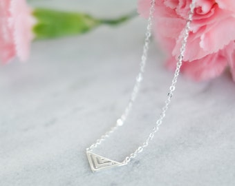 Medium Triangle Bunting Sterling Silver Necklace | Simple Tiny Dainty Geometric Necklace | 925 Silver Hypoallergenic 100% Sterling Silver