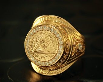 Mens gold coin rings for sale