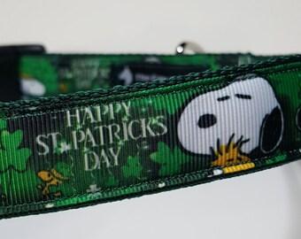 Shamrock Snoopy Dog Collar -St Patricks Day Dog Collar FREE Shipping