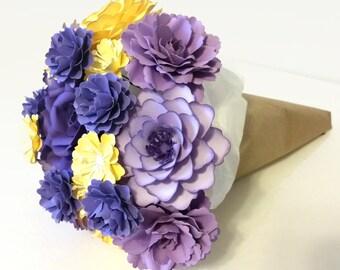 Paper Flower Bouquet   Purple and Yellow Paper Flower Gift Bouquet (medium)