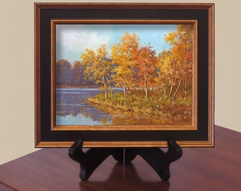 Miniature Oil Painting Landscape Late Autumn Maryland Small  Plein Air Original 6 x 8 Fall Colors Gift Framed Free Shipping