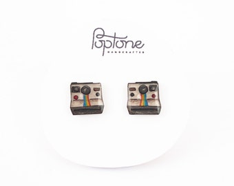 Polaroid Camera Earrings, vintage camera studs, photographer gift, vintage polaroid