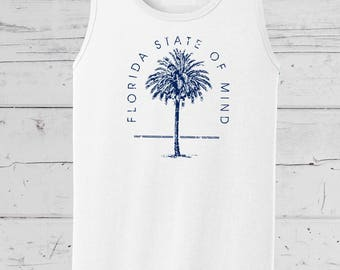 """Florida Native """"Florida State of Mind"""" Tank, Summer Beach Wear, Summer Collection, Soft comfy mens and ladies tees and tanks."""