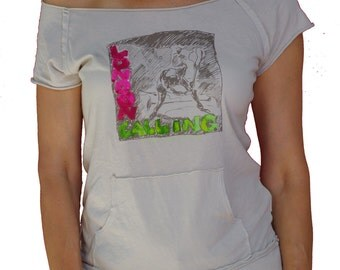 London Calling - The Clash women's raw edge off-shoulder top with kangaroo pocket